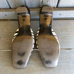 Vintage Shoes - Vintage 90's Zebra Squared Toe Slides
